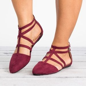 SunnyMia Shoes - Caged Wine Almond Toe Flats